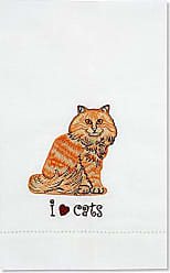 Pavilion Gift Company Rescue Me Now Orange Tabby Cat Tea Towel, 11 by 7-Inch, Embroidered