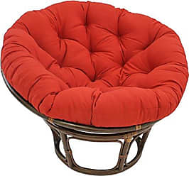 Blazing Needles Solid Twill Papasan Chair Cushion, 48 x 6 x 48, Red