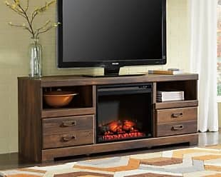 Ashley Furniture Quinden 64 TV Stand with Fireplace, Dark Brown