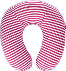 Trademark Global Memory Foam Travel Pillow- Extra Neck Support Design Pillow with Pillowcase Protector for Sleeping, Airplanes and Train by Lavish Home (Pink Stripe)
