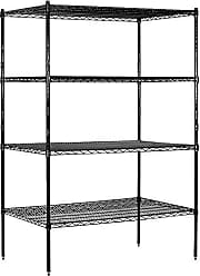 Salsbury Industries Stationary Wire Shelving Unit, 48-Inch Wide by 74-Inch High by 24-Inch Deep, Black