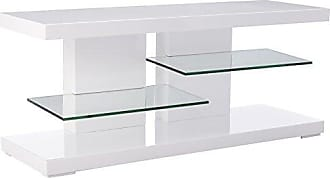 Coaster Fine Furniture TV Stand with Alternating Glass Shelves Glossy White and Clear