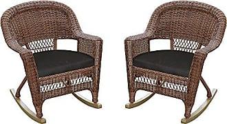 Jeco W00205R-C_2-FS017 Rocker Wicker Chair with Black Cushion, Set of 2, Honey