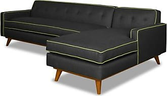 Apt2B Clinton 2pc Sectional Sofa - Leg Finish: Pecan - Configuration: Right Chaise - Dark Grey Poly Blend - Sold by Apt2B - Modern Couch Made in the US