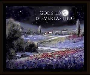 EAZL Gods Everlasting Love Night Time Tuscan Landscape Religious Painting Black & Purple, Framed Canvas Art by Pied Piper Creative