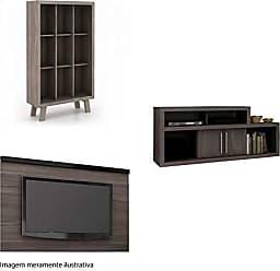 Tecno Mobili Sala de Estar Completa MadeiraMadeira com Rack, Painel e Estante 381886 Madeira/Marrom