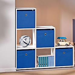 Inter Link SAS Estante para Quarto Infantil com 6 Nichos e 4 Caixas Organizadoras na Cor Azul - 100% MDF