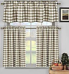 Duck River Textile Home Maison Kingston Plaid Gingham Checkered Cotton Blend Kitchen 3 Piece Window Curtain Tier & Valance Set, 2 29 x 36 & One 58 x 15, Taupe