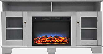 Cambridge Silversmiths CAM6022-1WHTLED Savona 59 In. Electric Fireplace in White with Entertainment Stand and Multi-Color LED Flame Display