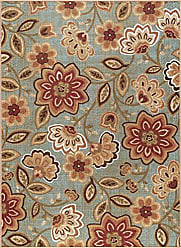 Tayse Delphine Transitional Floral Seafoam Non-Skid Rectangle Area Rug, 4 x 5
