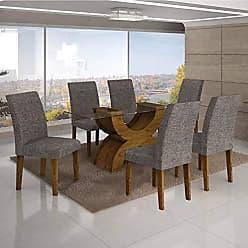 Leifer Conjunto Sala de Jantar Mesa Tampo Vidro 180cm 6 Cadeiras Olímpia New Leifer Canela/Linho Cinza