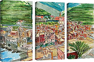 24X36 Linda Woods Colorful Uprising III 3 Piece Gallery Wrapped Canvas Set