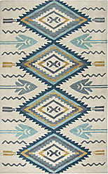 Rizzy Home Southwest Collection Wool Aqua/Ivory Southwest/Tribal Area Rug 5 x 8