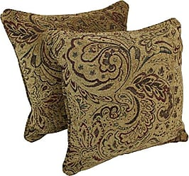 Blazing Needles Double-Corded Square Patterned Jacquard Chenille Throw Pillows with Inserts (Set of 2), 18, Scrolled Floral Tan