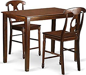 East West Furniture YAKE3-MAH-W 3 Piece High Table and 2 Dinette Chairs Set, Mahogany Finish
