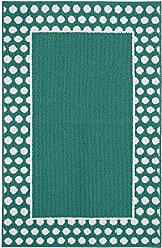Garland Rug Polka Dot Frame Area Rug, 30 x 46, Teal/White