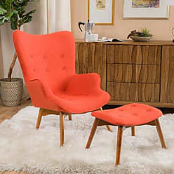 Christopher Knight Home 297010 Acantha Mid Century Modern Retro Contour Chair with Footstool, Muted Orange