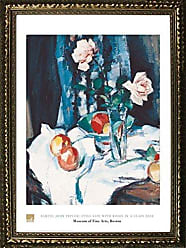 Buyartforless Framed Still Life with Roses in A Glass Vase by Samuel John People 32x24 Art Print Poster Still Life Floral Fruit from Museum of Fine Arts Boston Collection