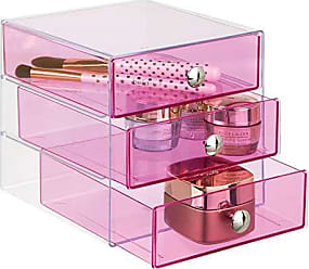 InterDesign InterDesign Plastic 3 Jewelry Box, Compact Storage Organization Drawers Set for Cosmetics, Dental Supplies, Hair Care, Bathroom, Office, Dorm, Desk, Countertop, 6.5 x 6.5 x 6.5, Pink