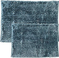 Sweet Home Collection Bath Set 2 Piece Butter Chenille Noodle Soft Luxurious Rugs Absorbent Non Slip Latex Back Microfiber Bathroom Mat, ((1) 17 x 24 & (1) 20 x 32 Teal