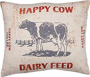 Primitives By Kathy Vintage Feed Sack Style Throw Pillow, Happy Cow Dairy