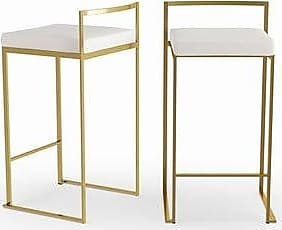 b1534e9dd2639 Silver Orchid Forrest Gold Stackable Counter Stool (Set of 2) (White Faux  Leather