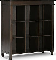 Simpli Home Simpli Home 3AXCCRL-07 Carlton Solid Wood 46 inch x 44 inch Contemporary 9 Cube Bookcase and Storage Unit in Tobacco Brown