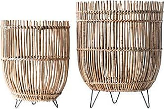 Creative Co-op Creative Co-op Round Arurog Metal Clothespin Feet (Set of 2 Sizes) Basket, Brown