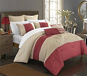 Chic Home 7 Piece Marbella New Linen Fabric Collection Oversized & Overfilled Embroidered Pleated Ruffled Comforter Set, Queen, Taupe