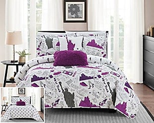 Chic Home New York 5 Piece Reversible Quilt Set City Inspired Printed Design Coverlet Bedding - Decorative Pillows Shams Included Size, Queen, Purple