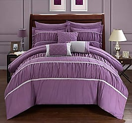 Chic Home Cheryl 10 Piece Comforter Set Complete Bed in a Bag Pleated Ruched Ruffled Bedding with Sheet Set and Decorative Pillows Shams Included, Queen Plum