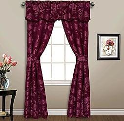 United Curtain 5 Piece Carrington Window Curtain Set, 52 x 84, Burgundy