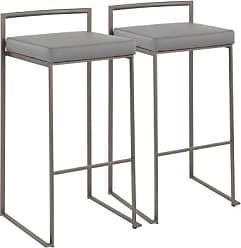 Ashley Furniture Fuji Industrial Stackable Barstool (Set of 2), Black/Gray
