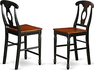 East West Furniture KES-BLK-W Kenley Counter Height Stools With Wood Seat In Black and Cherry -Set of 2