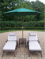 Oakland Living Outdoor Oakland Living Mississippi Cast Aluminum Chaise Lounge Set with Umbrella and Stand Green - 2108-2-2106-4001-GN-4101-5-AB