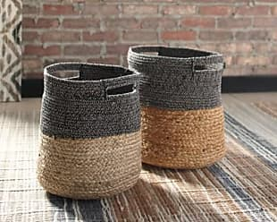 Ashley Furniture Parrish Parrish Natural/Black Basket (Set of 2), Natural/Black