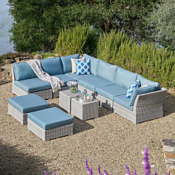 Corvus 10-piece Grey Wicker Patio Sectional Sofa Set with Blue Cushions (MS121)