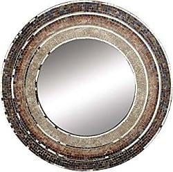 Deco 79 67973 Mosaic Wooden Wall Mirror, Brown/Black/Silver