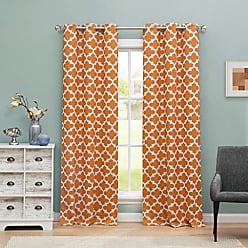 Duck River Textile Blackout365 Kyra Heavy Geometric Insulated Blackout Room Darkening Curtain Set of 2 Panels, 38 X 84 Inch, Peach Orange, 2 Piece