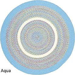 Rhody Rug Kidding Aqua Blue Banded 6 Round