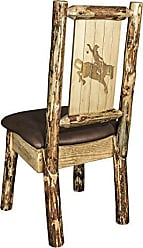 Montana Woodworks Montana Wooodworks Glacier Country Collection Side Dining Chair, Saddle Upholstery, with Laser Engraved Bronc Design