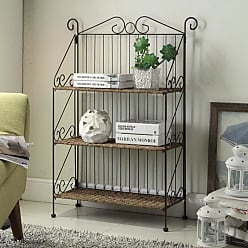 4D Concepts Farmington 3 Tier Folding Weave/Black Iron Shelf Decorative Bookcase - 144014