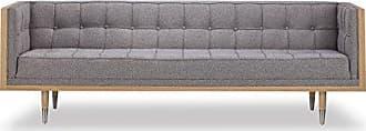 Kardiel Woodrow Midcentury Modern Box Sofa, Urban Pebble Twill/Ash