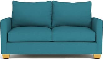 Apt2B Tuxedo Apartment Size Sleeper Sofa - Leg Finish: Natural - Sleeper Option: Deluxe Innerspring Mattress - Teal Performance Fabric - Sold by Apt2B