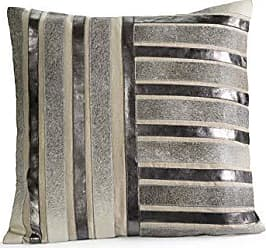 Zodax 24 Tall Aman Cotton Throw Pewter, Gray and Silver Decorative Pillows