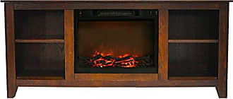 Cambridge Silversmiths CAM6226-1WAL Santa Monica 63 In. Electric Fireplace & Entertainment Stand in Walnut w/ 1500W Charred Log Insert