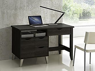 Wholesale Interiors Baxton Studio McKenzie Modern Contemporary Wood 3-Drawer Home Office Study Desk with Two Open Shelves & Two Shelves with Wood Door, Dark Brown