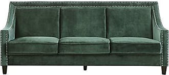 Iconic Home FSA9003-AN Camren Sofa Velvet Upholstered Swoop Arm Silver Nailhead Trim Espresso Finished Wood Legs Couch Modern Contemporary, Green