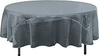LA Linen Sheer Mirror Organza Round Tablecloth 72-Inch, Navy Blue