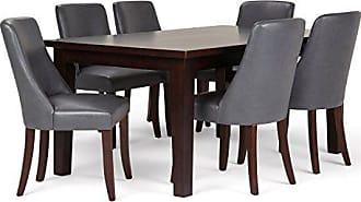 Simpli Home Simpli Home AXCDS7WA-STG Walden Contemporary 7 Pc Dining Set with 6 Upholstered Dining Chairs and 66 inch Wide Table